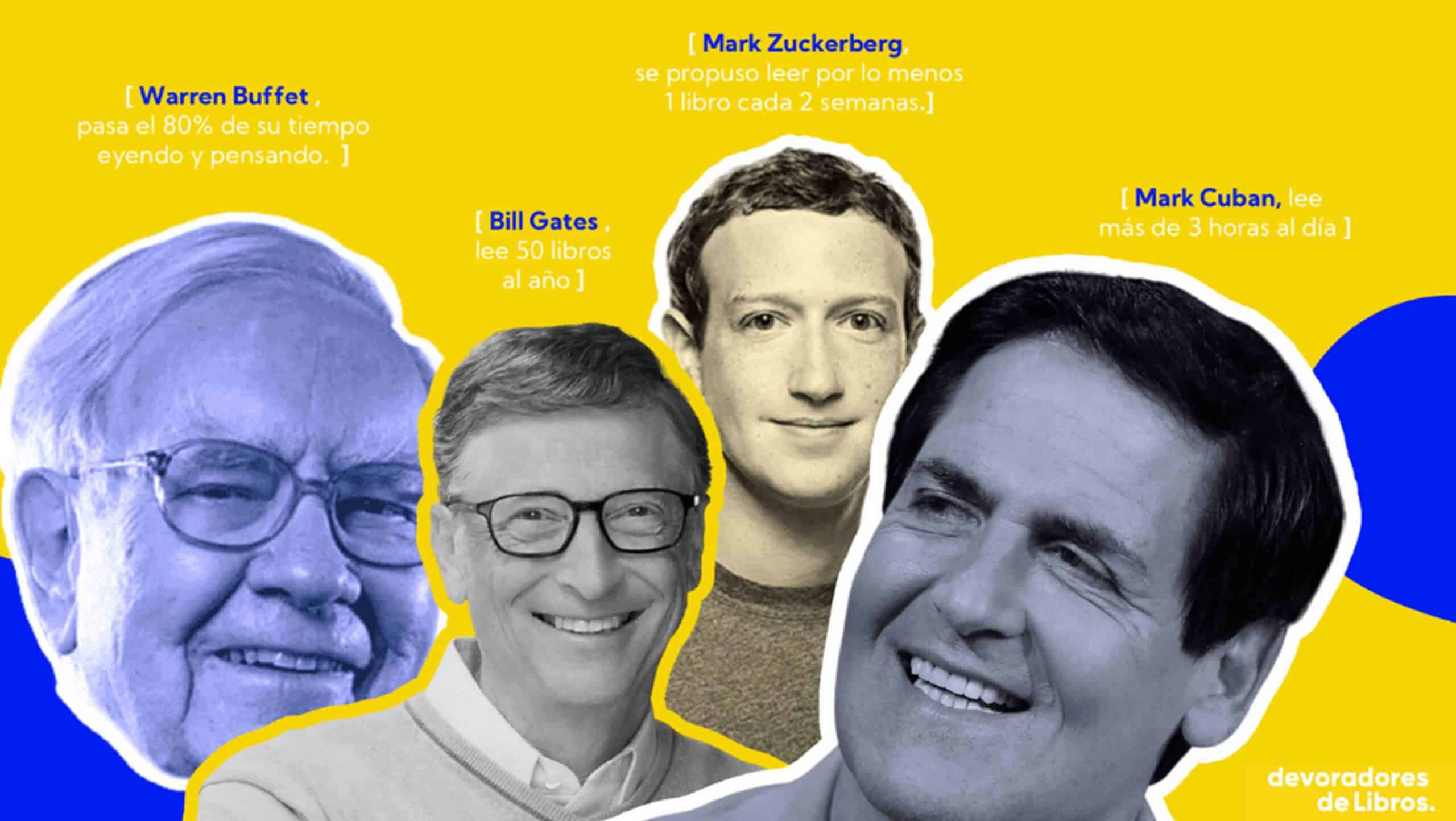 importancia de la lectura para grandes empresarios, warren buffet, mark zuckemberg, bill gates, mark cuban